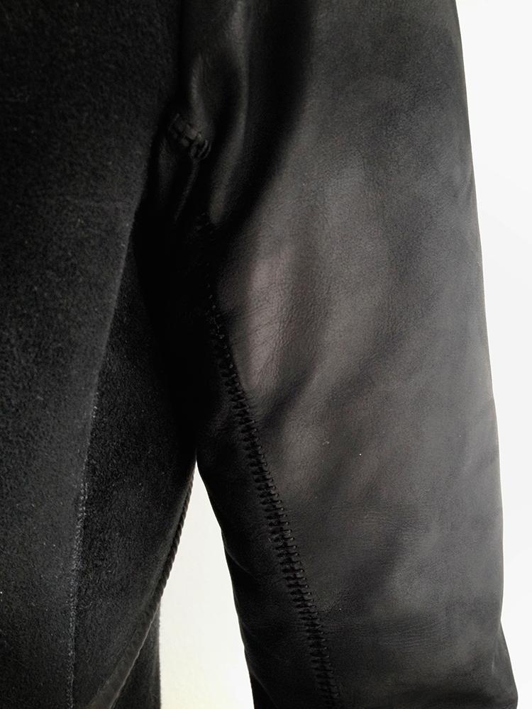 vintage Isaac Sellam Experience black leather hibernatus coat
