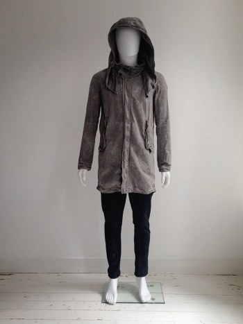 Julius_7 grey-green hooded fishtail parka — spring 2011