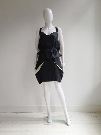 Hussein Chalayan dark blue sculptural skirt