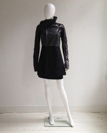 Rick Owens GLEAM black leather jacket with winged neck — fall 2010