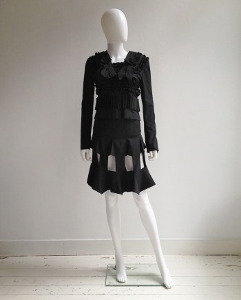 Bernhard Willhelm black victorian frilly bowtie top — spring 2001