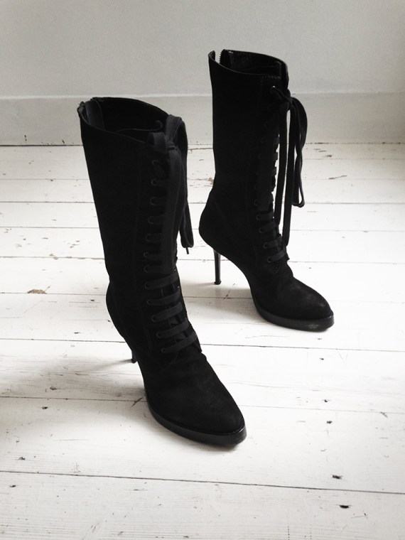 vintage Haider Ackermann black lace up boots runway — fall 2009