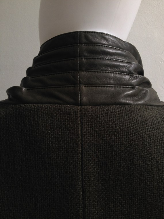 vintage Haider Ackermann green jacket with leather draped collar
