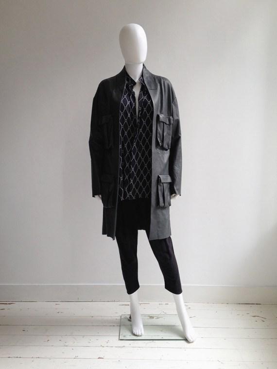 Haider Ackermann green leather pocket coat
