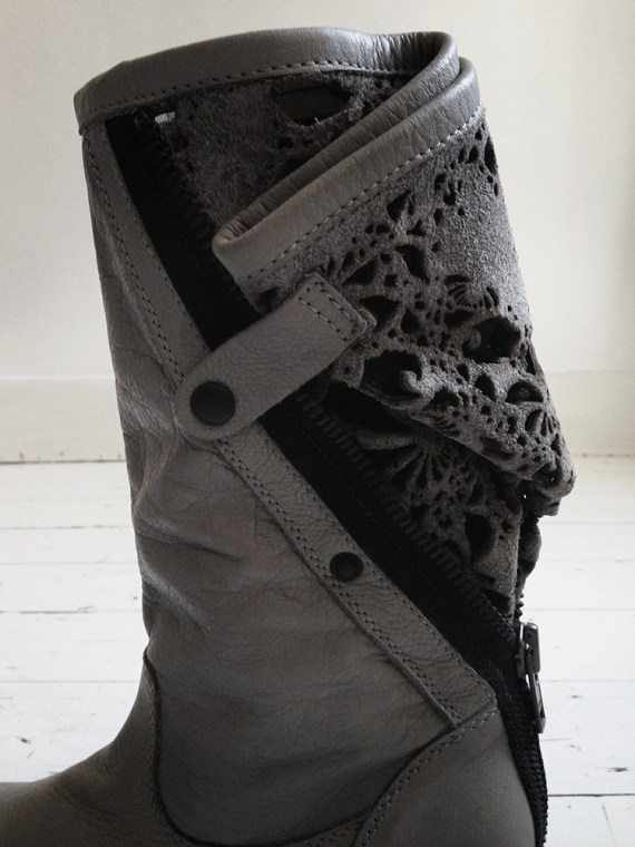 vintage Haider Ackermann grey laced leather boots
