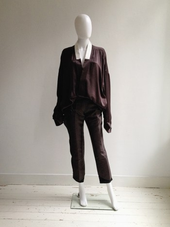 Haider Ackermann purple kimono blouse with white collar — spring 2014