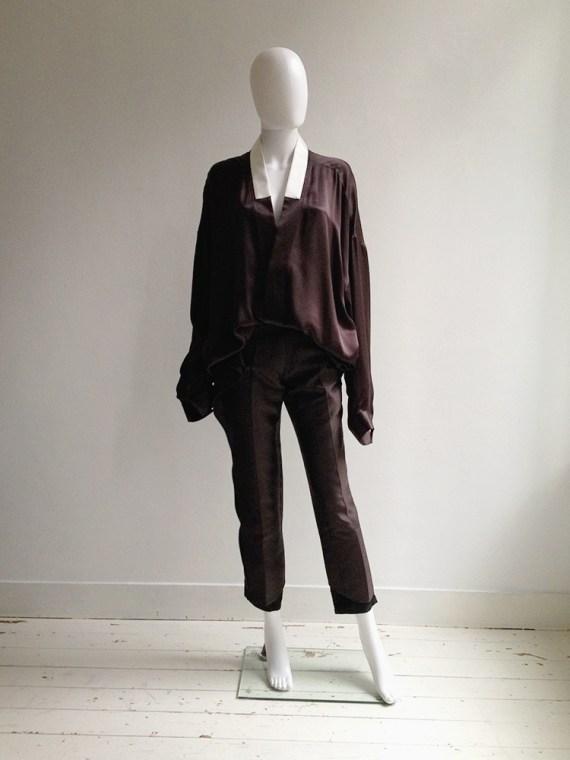 Haider Ackermann purple kimono blouse with white collar — spring 2014   shop at vaniitas.com