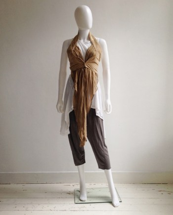 Hussein Chalayan beige leather layered waistcoat — spring 2004