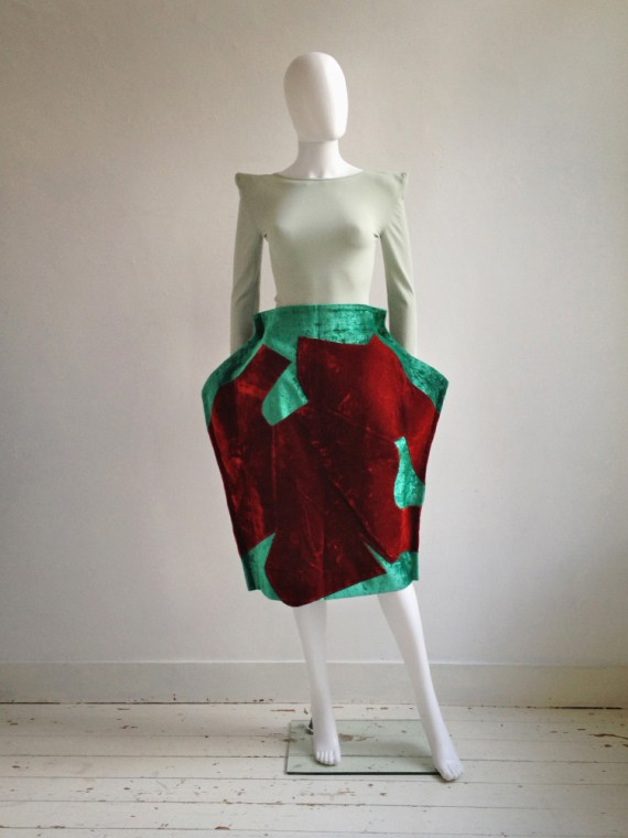 Comme des Garcons red and green 2D paperdoll skirt runway fall 2012 8433