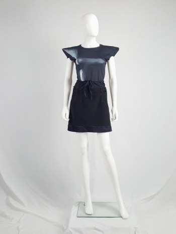 Maison Martin Margiela artisanal black and blue mini skirt