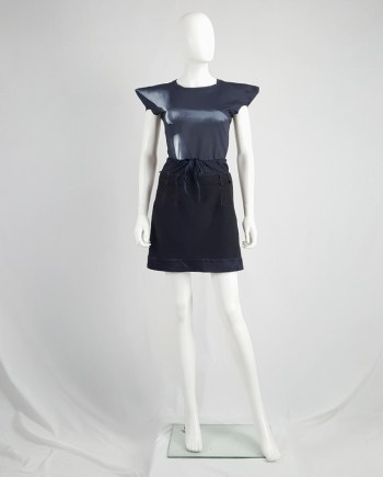 Maison Martin Margiela artisanal black and blue mini skirt