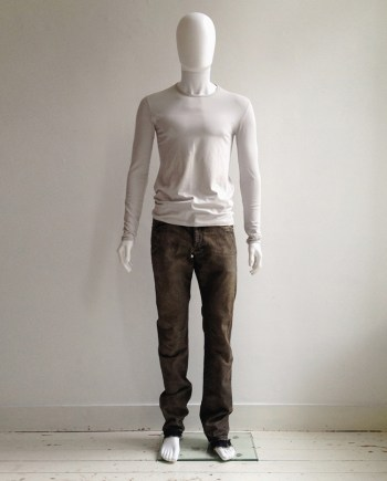 Raf Simons beige 'remote control' printed longsleeve — spring 2005