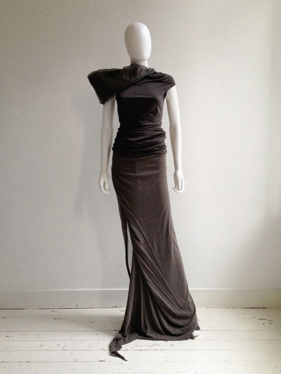 Rick Owens Lilies brown maxi skirt with train 6908