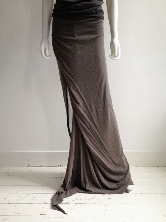 Rick Owens Lilies brown maxi skirt with train 6927
