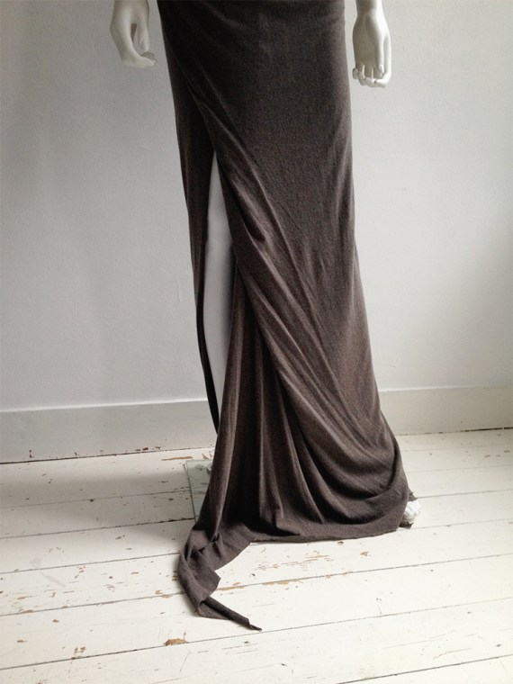 Rick Owens Lilies brown maxi skirt with train 6936
