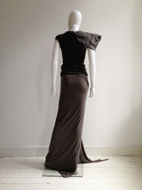 Rick Owens Lilies brown maxi skirt with train 6940