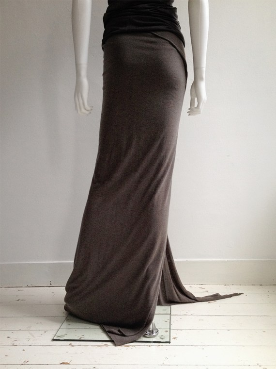 Rick Owens Lilies brown maxi skirt with train 6943