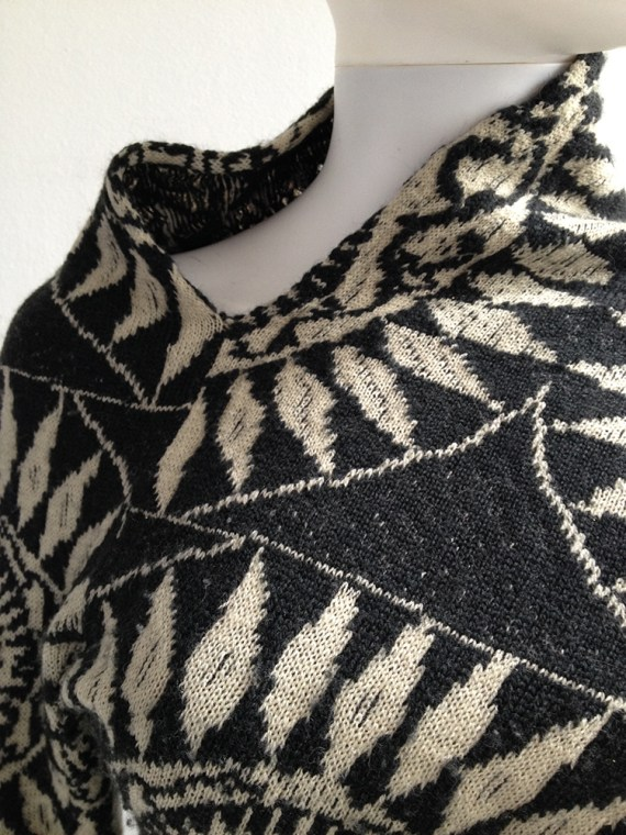 Dries Van Noten black and white deformed jumper