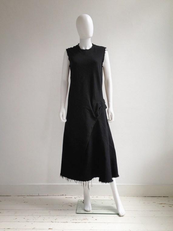 Junya Watanabe black bowtie dress with raw hem runway fall 2003 0652