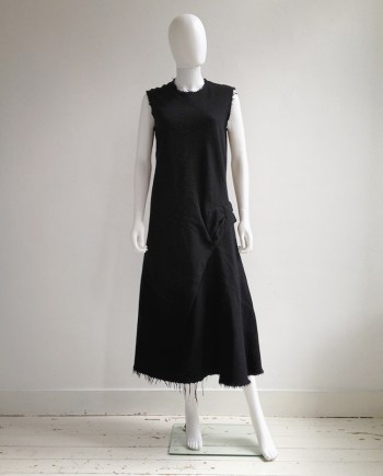 Junya Watanabe black bowtie dress with raw hem — fall 2003