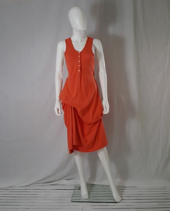 Ann Demeulemeester orange draped dress — spring 2005