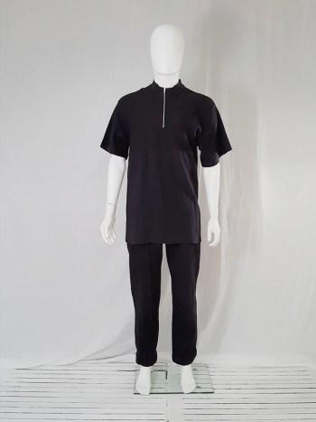 Yohji Yamamoto black zipper polo shirt — 80s
