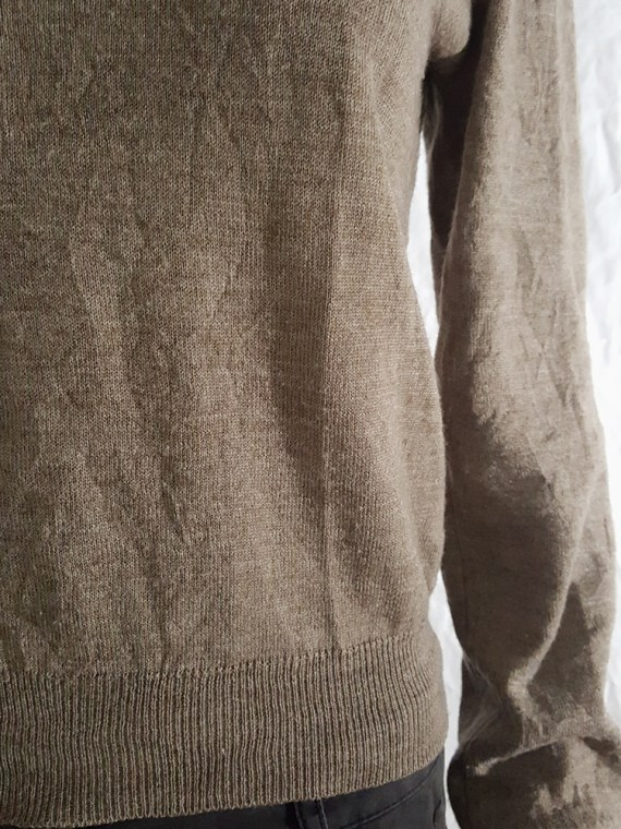 Maison Martin Margiela beige permanently creased turtleneck jumper