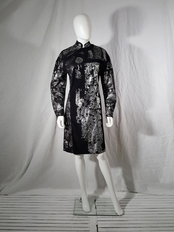 A.F. Vandevorst black dress with silver Chinese brocade — spring 2016