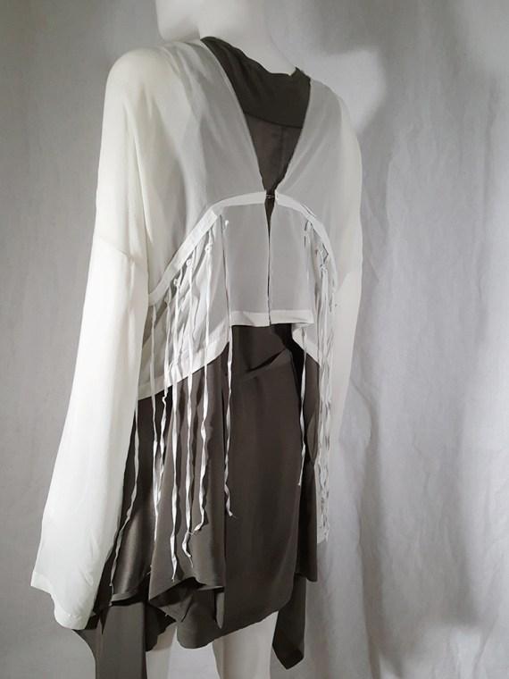 Ann Demeulemeester white silk blouse with back fringes 181149