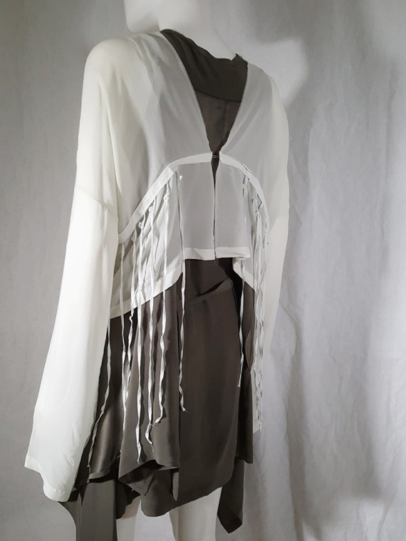 Ann Demeulemeester white silk blouse with back fringes 181149
