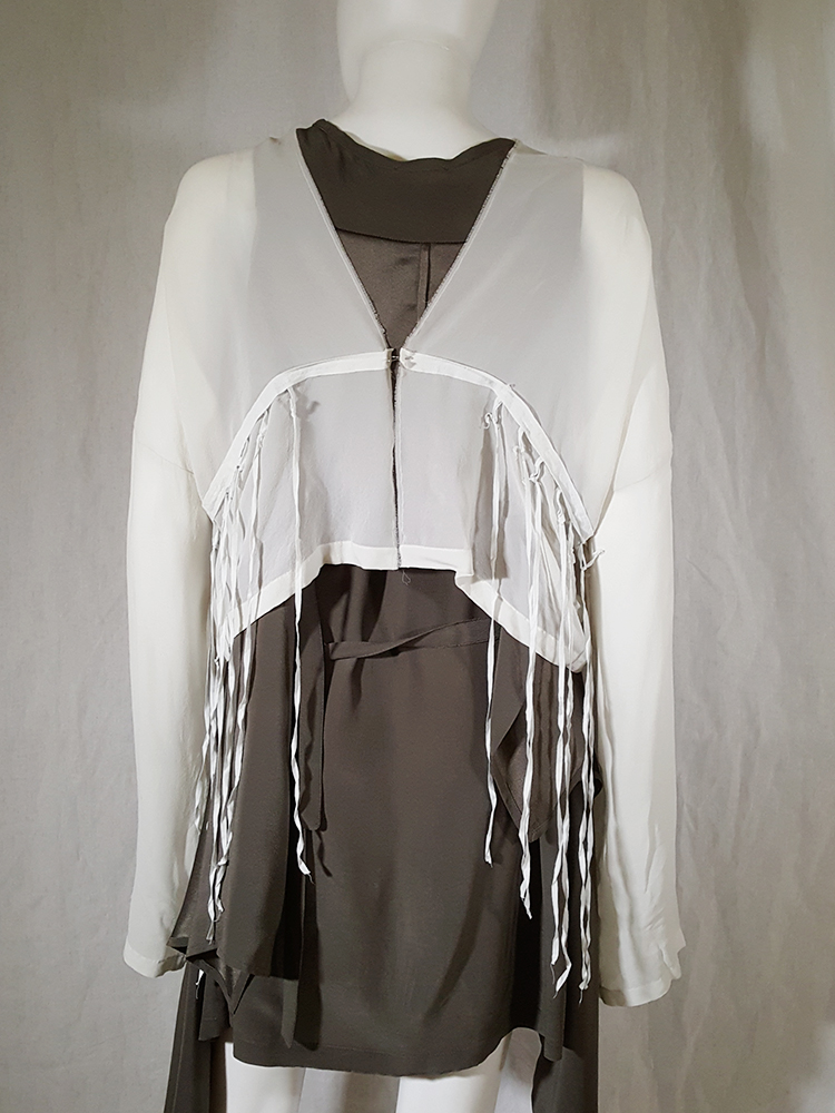 Ann Demeulemeester white silk blouse with back fringes 181235(0)