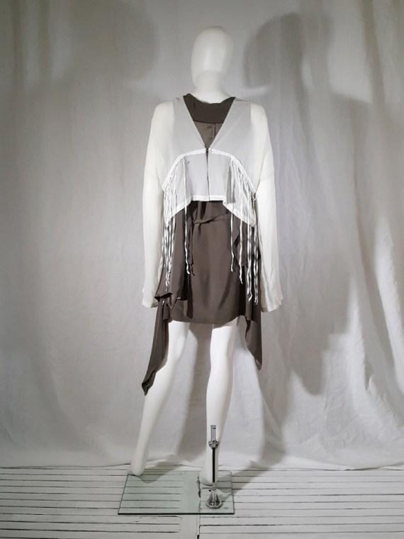 Ann Demeulemeester white silk blouse with back fringes 181259