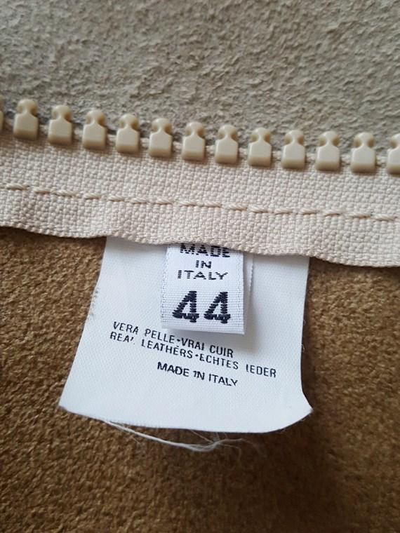 archive Maison Martin Margiela beige leather flat jacket spring 1998 141457
