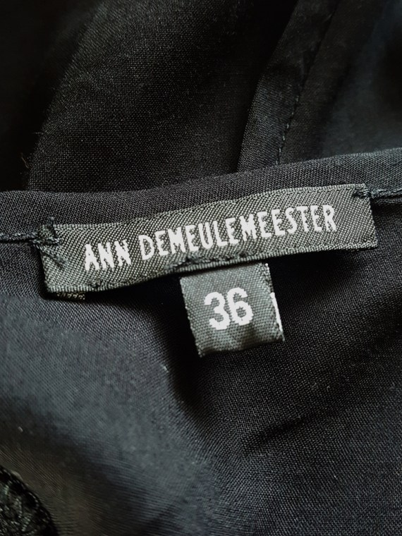 vintage Ann Demeulemeester black transformable top with white shoulder panel runway spring 2011 140306