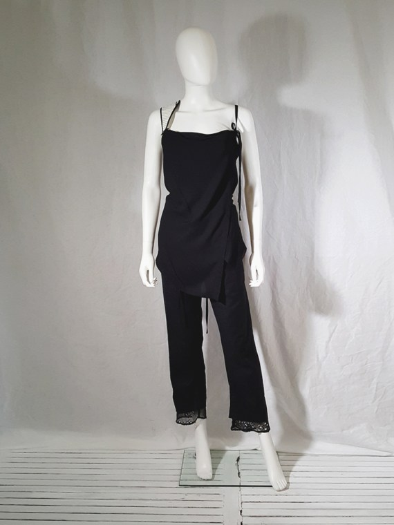 vintage Ann Demeulemeester black transformable top with white shoulder panel spring 2011 161019