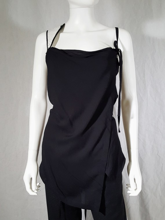 vintage Ann Demeulemeester black transformable top with white shoulder panel spring 2011 161042