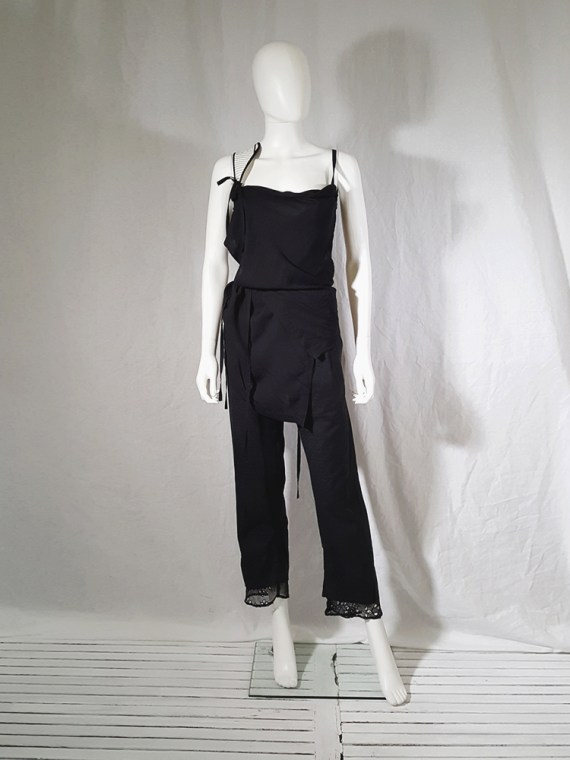 vintage Ann Demeulemeester black transformable top with white shoulder panel spring 2011 161225