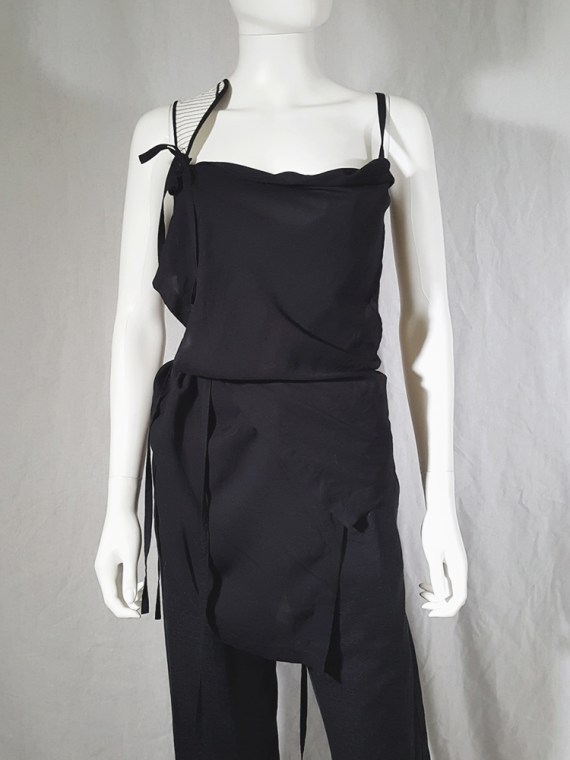 vintage Ann Demeulemeester black transformable top with white shoulder panel spring 2011 161242