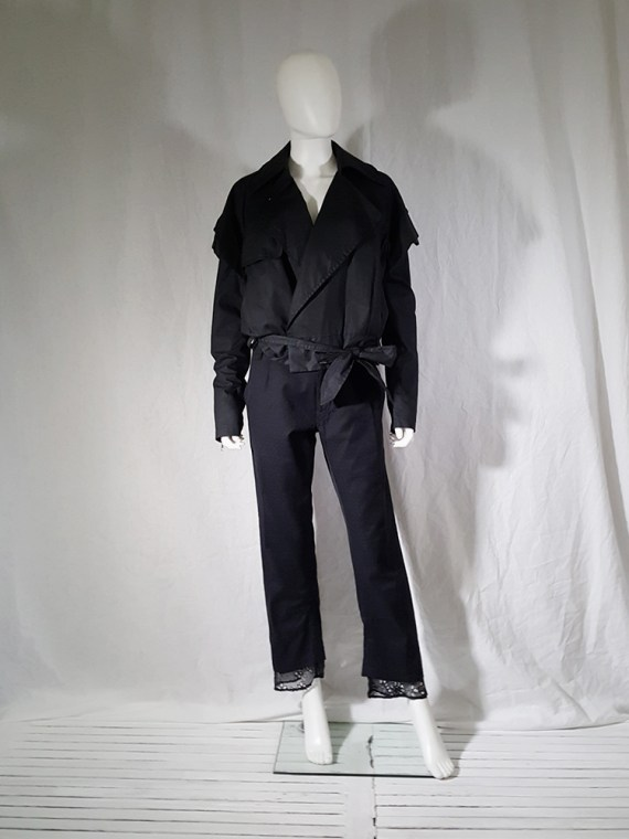vintage Ann Demeulemeester black trousers with lace trim 1990s 160021