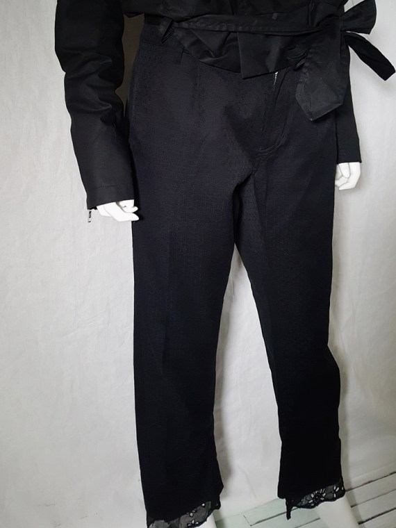 vintage Ann Demeulemeester black trousers with lace trim 1990s 160140