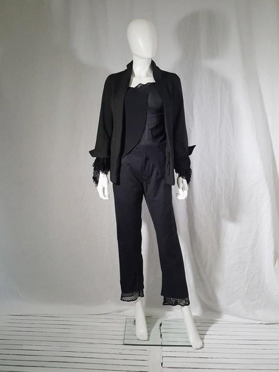 Comme des Garçons dark blue blazer with ruffled sleeves — spring 2000