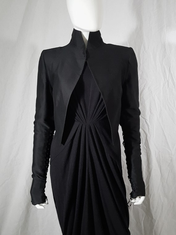vintage Haider Ackermann black jacket with lace up back and sleeves runway fall 2008 155951