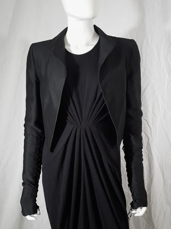 vintage Haider Ackermann black jacket with lace up back and sleeves runway fall 2008 160125