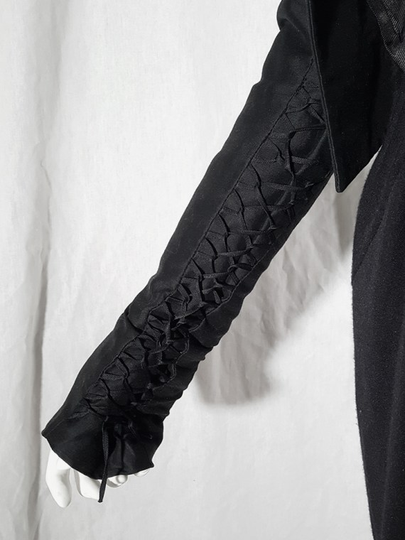 vintage Haider Ackermann black jacket with lace up back and sleeves runway fall 2008 160244