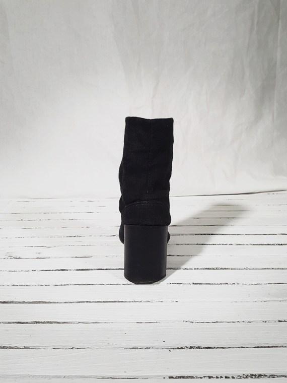 vintage Maison Martin Margiela dark grey linen tabi boots with block heel 150925(0)