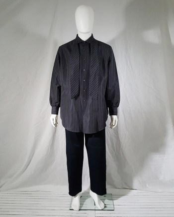 Yohji Yamamoto pour homme grey striped shirt with attached tie