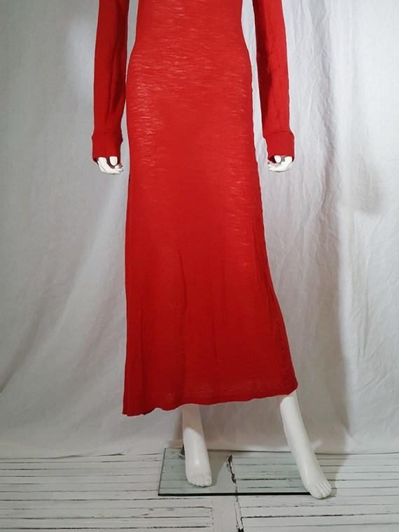 Ann Demeulemeester red knit maxi dress fall 1996 151741