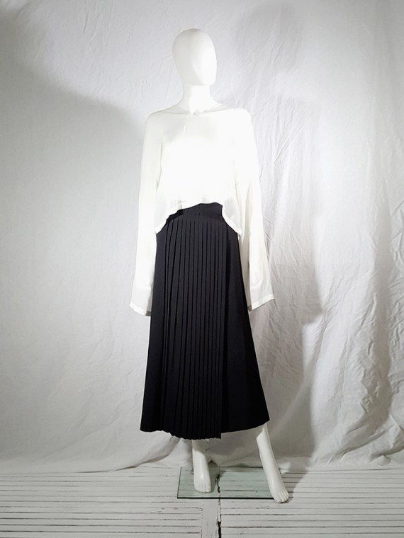 archive Dries Van Noten black front pleated skirt early 90s 162123