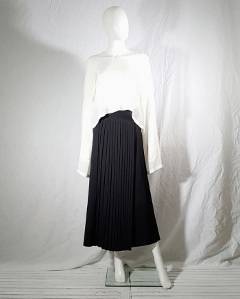 vintage 90s Dries Van Noten black front pleated skirt