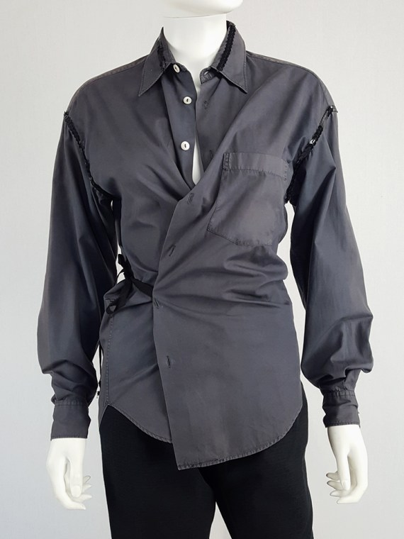 Maison Martin Margiela artisanal grey sequinned wrap shirt